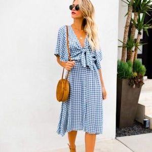 Vici Dresses - Vici blue and white tie midi dress